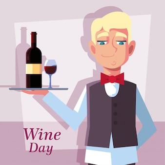 Garçom profissional com garrafa de vinho
