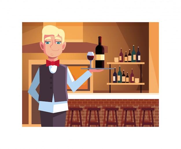 Garçom profissional, oferecendo vinho tinto no bar