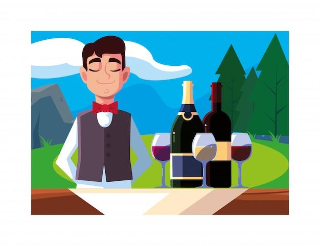 Garçom profissional, oferecendo vinho tinto