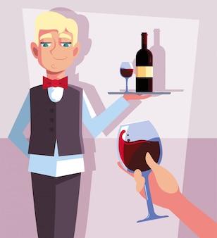 Garçom profissional, segurando a garrafa de vinho