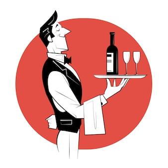 Garçom segurando uma bandeja de prata com uma garrafa de vinho e taças de vinho.