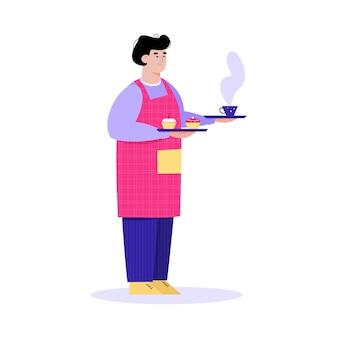Garçom segurando uma xícara de café e cupcakes de sobremesa em bandejas