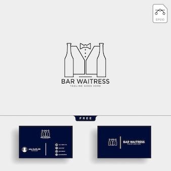 Garçonete, barzinhos, ou, waiter, criativo, logotipo, modelo, vetorial, ilustração