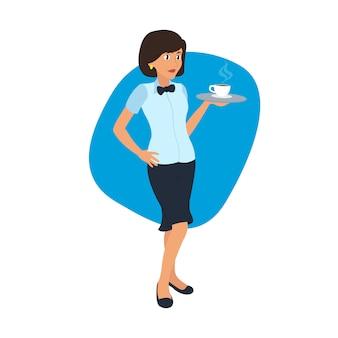 Garçonete, carregando uma bandeja com uma xícara de café.