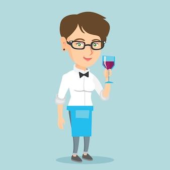 Garçonete caucasiana, segurando um copo de vinho.