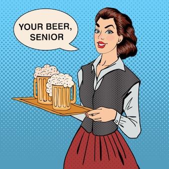 Garçonete com cerveja