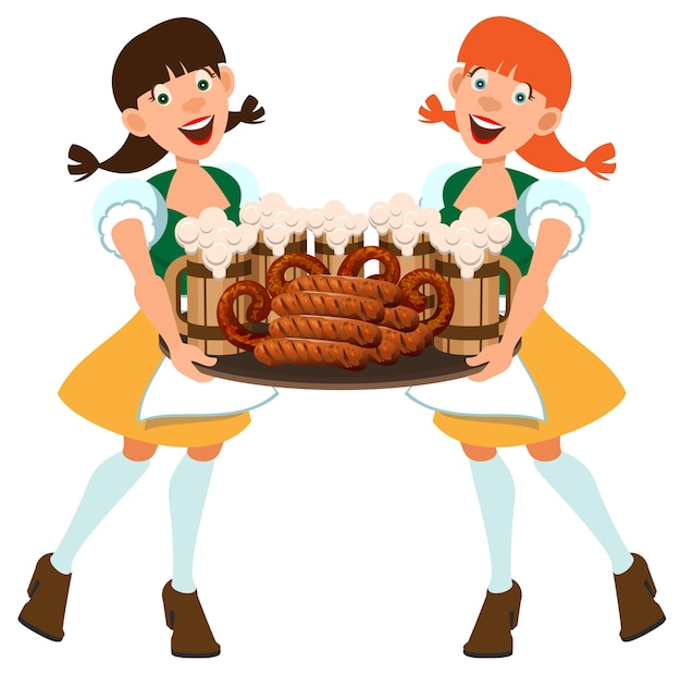 Garçonete de duas mulheres alemãs segurando a bandeja com cerveja e salsichas. isolado na ilustração branca dos desenhos animados