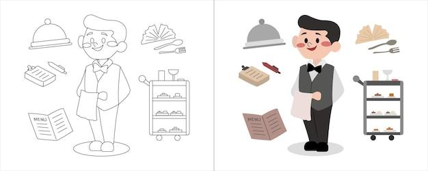 Garçonete de ilustração de livro de colorir infantil pronta para trabalhar