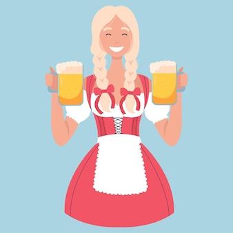 Garçonete de pub de mulher em traje tradicional alemão com canecas de cerveja da oktoberfest.