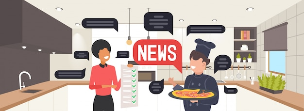 Garçonete e chef cozinham discutindo o conceito de comunicação de bolha de bate-papo de notícias diárias. ilustração do retrato horizontal do interior da cozinha do restaurante moderno
