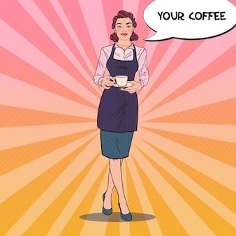 Garçonete linda com uma xícara de café