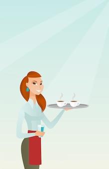 Garçonete, segurando a bandeja com xícaras de café ou chá.