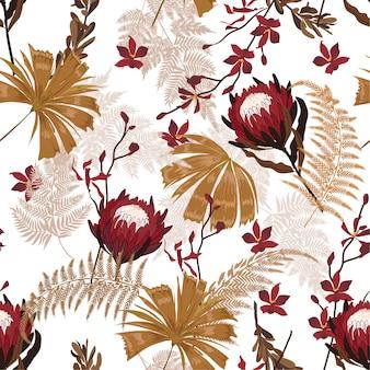 Garden protea padrão floral nos muitos tipos de flores