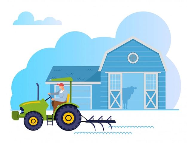 Gardener, farmer worker character trator de condução