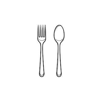 Garfo e colher ícone de doodle de contorno desenhado de mão. talheres - ilustração do esboço do vetor garfo e colher para impressão, web, mobile e infográficos isolados no fundo branco.