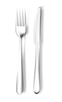 Garfo e faca realistas do vetor. utensílios de cozinha de prata de aço inoxidável