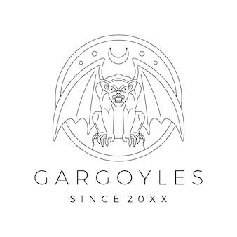 Gargoyles gargoyle logo vector contorno ilustração