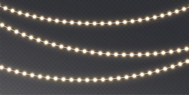 Garland brilhando com luzes de natal. elemento de decoração festiva.