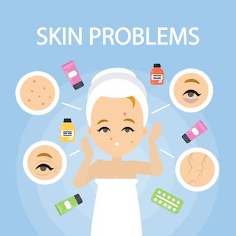 Garota adolescente com problemas de pele ruim como espinhas.