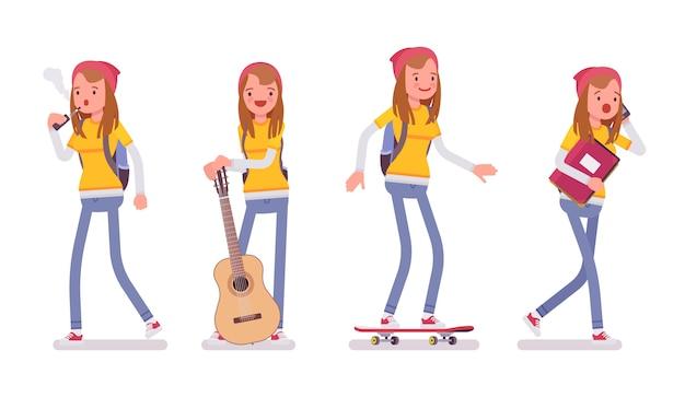Garota adolescente em diferentes situações