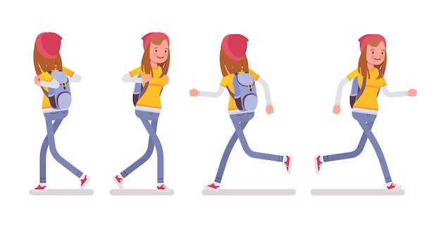 Garota adolescente em pose de caminhada e corrida