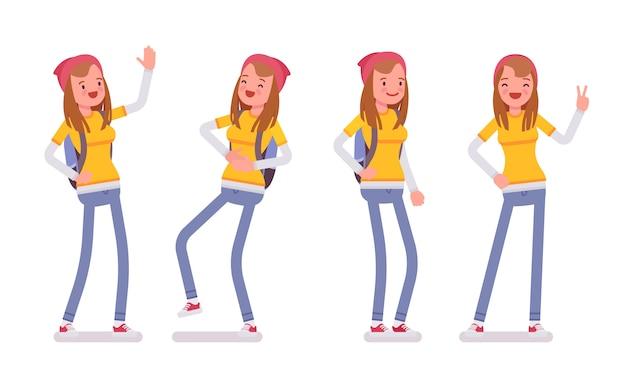 Garota adolescente em pose de pé, emoções positivas