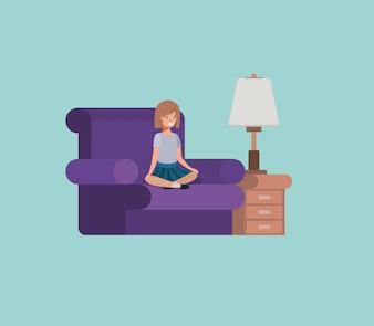 Garota adolescente sentado na sala de estar