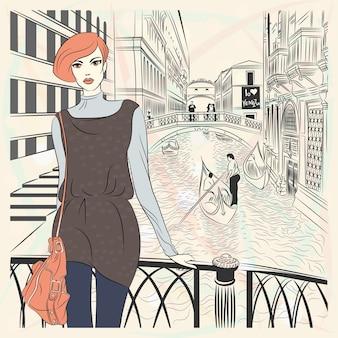 Garota adorável fashion em estilo de desenho em um fundo de veneza