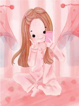 Garota adorável mão desenhada personagem em aquarela. ilustração vetorial