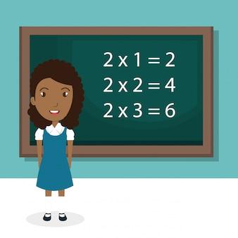 Garota africana com caráter de sala de aula de lousa