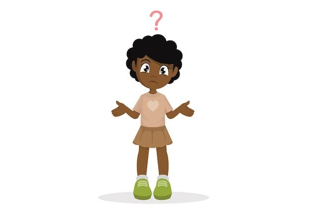 Garota africana confusa.