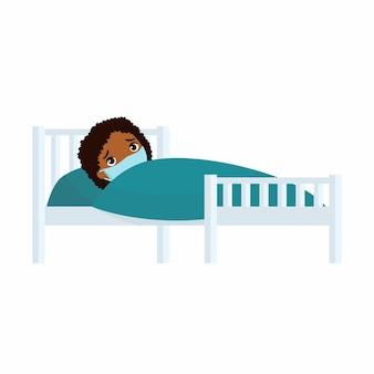 Garota africana doente com máscara médica em ilustração de cama de hospital