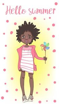 Garota africana fofa de verão com vestido de verão