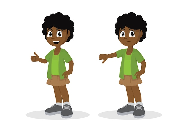 Garota africana polegares para cima polegares para baixo.