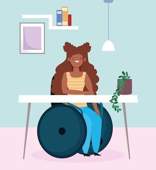 Garota afro-americana com deficiência sentada em uma cadeira de rodas, trabalhando, ilustração de inclusão