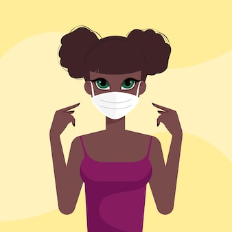 Garota afro-americana com máscara médica protetora em fundo amarelo