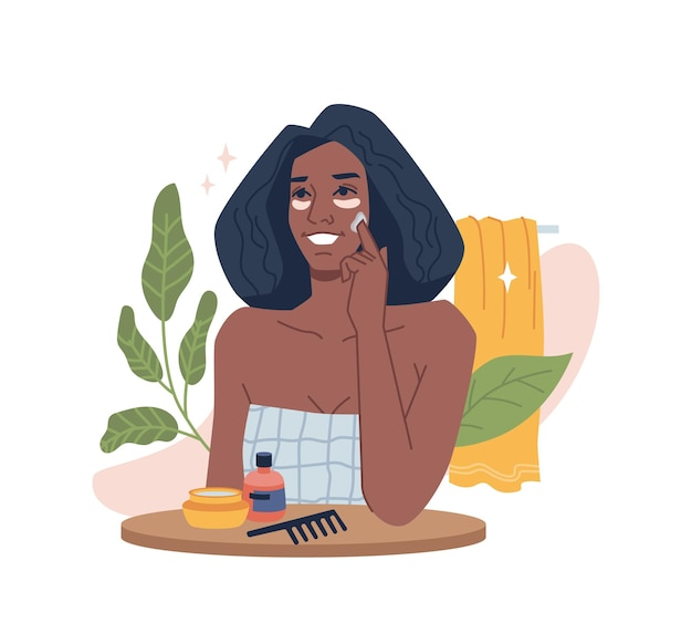 Garota afro-americana cuida do rosto aplica creme