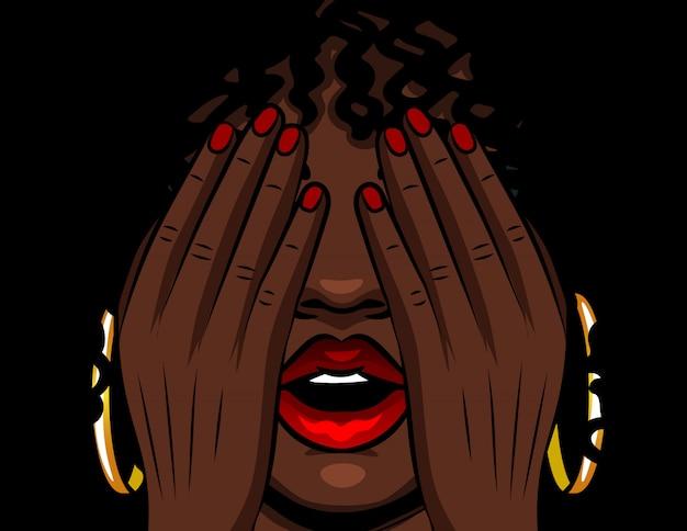 Garota afro-americana de ilustração vetorial de cor cobre o rosto com as mãos. a menina experimenta emoções de estresse, medo, dor, fadiga. menina com lábios vermelhos abertos e olhos fechados