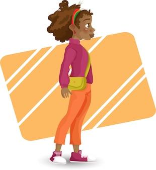 Garota afro-americana desenho animado garota afro-americana