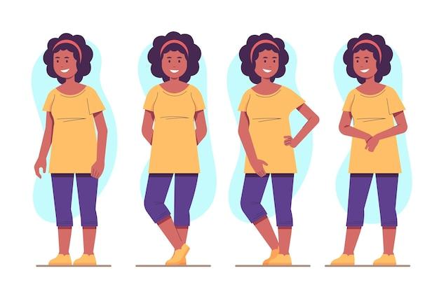 Garota afro-americana em diferentes poses