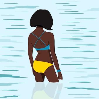 Garota afro-americana em maiô vai nadar na ilustração do mar.