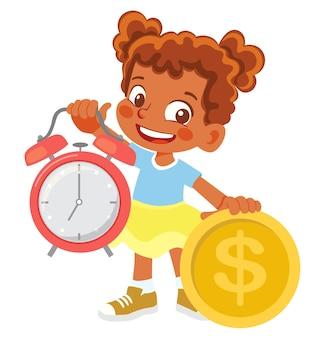 Garota afro-americana segurando relógio e dinheiro