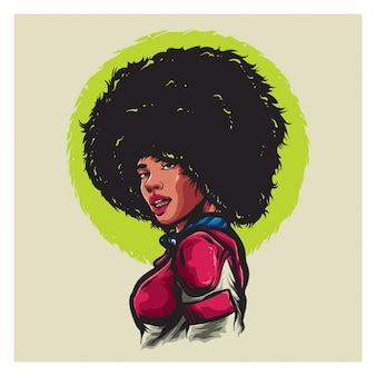 Garota afro com terno rosa
