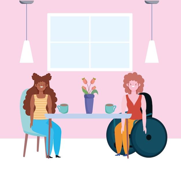 Garota afro e garota deficiente sentada em uma cadeira de rodas, conhecendo pessoas, ilustração de inclusão
