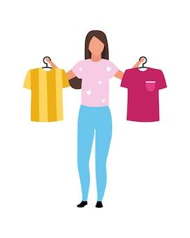 Garota ajuda com camisetas escolhendo personagem vetorial de cor semi-plana