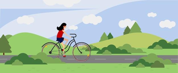 Garota andando de bicicleta ao ar livre