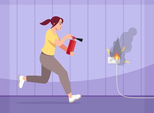 Garota apaga fogo semi ilustração. mulher jovem assustada com extintor de incêndio. incêndio em casa. medidas preventivas. fiação de personagens de desenhos animados com defeito para uso comercial