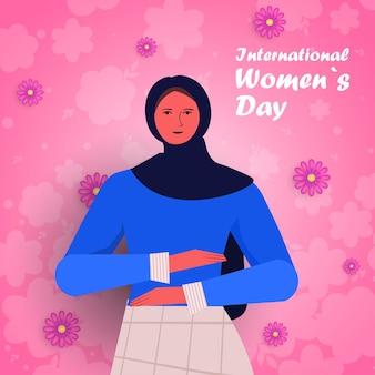 Garota árabe comemorando o dia internacional das mulheres 8 de março ilustração do retrato do conceito de celebração de feriado