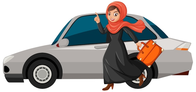Garota árabe vai de férias Vetor grátis