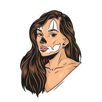 Garota atraente com maquiagem de rosto de gato e cabelo comprido em estilo vintage ilustração isolada